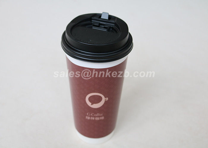 22 Ounces Insulated Double Wall Paper Coffee Cups With Lids Customized