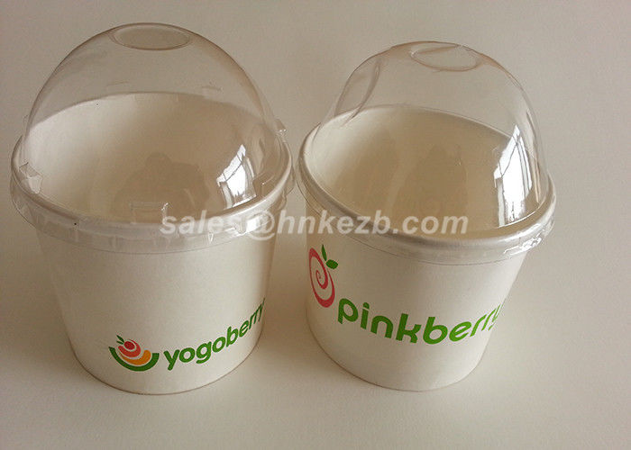 White Disposable Ice Cream Cups With Lids And Spoon For Frozen Yogurt