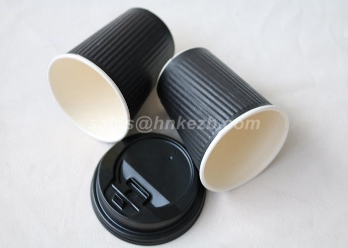 100% Biodegradable PLA Paper Cups / Paper Disposable Cups Black Color